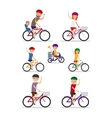 Sports family Mom Dad and kids ride bikes vector image vector image