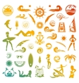 Summer Icons and Silhouettes in Retro Style vector image