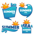 summer time collection of water and sun stickers vector image