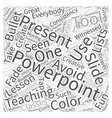 Teaching With Powerpoint Word Cloud Concept vector image vector image