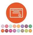The certificate icon Diploma symbol Flat vector image vector image