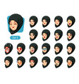 the first set of muslim woman cartoon avatars vector image