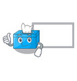 thumbs up with board character tissue box on wood vector image vector image