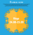 Virgo icon Floral flat design on a blue abstract vector image
