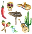 Watercolor mexico icons vector image vector image