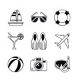 white background with monochrome icons beach vector image vector image