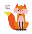 wild forest fox childish cartoon book character vector image
