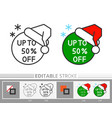 xmas banner sticker santa hat sale linear icon vector image vector image
