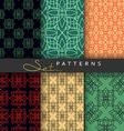Set 6 seamless retro geometric patterns Background vector image