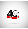 40 years anniversary logo with ribbon and hand vector image vector image