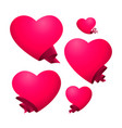 a set of pink hearts templates vector image