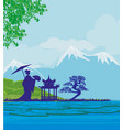 abstract asian landscape and beautiful asian girl vector image