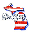 american flag in michigan state map grunge style vector image vector image