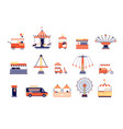 amusement park icons city attractions vector image