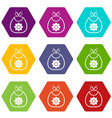 baby bib icon set color hexahedron vector image vector image