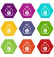 baby bib icon set color hexahedron vector image vector image