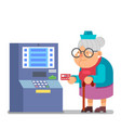 bank card payment at atm grandmother old lady vector image