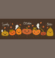 banner with halloween pumpkins and ghosts vector image