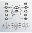 black and white computer cloud vector image vector image