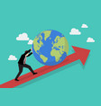businessman pushing the world on graph up vector image vector image