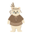 cartoon polar bear indian of vector image vector image