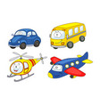 cartoon transport set car helicopter airplane vector image