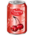 Cherry cola in aluminum can vector image vector image