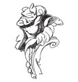 cherub face as a part of a frame vintage engraving vector image vector image
