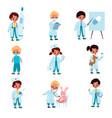 children doctors kids with medical dress vector image vector image