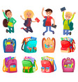 classmates and backpack school object vector image vector image