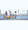 cleaners team in uniform working together cleaning vector image vector image