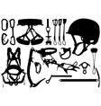 Climbing equipment silhouettes vector image vector image