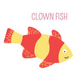 clown fish underwater childish book character vector image