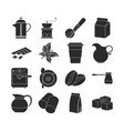 collection of dark coffee icons vector image
