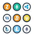cryptocurrency different coins vector image vector image