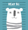 cute abstract hand drawn white bear card vector image
