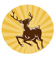 deer buck stag jumping retro vector image vector image