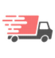 delivery car halftone dotted icon with fast rush vector image