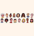 diverse faces people set human avatars vector image vector image