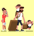 family with two kids at airport vector image vector image