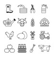 farm agricultural icons set outline style vector image vector image