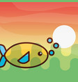 fish sea life cartoon vector image