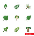 flat icon bio set of timber wood acacia leaf and vector image vector image