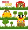 funny animals head cartoon vector image vector image