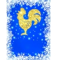 Glitter gold crowing rooster with sparkles on blue vector image
