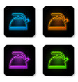 glowing neon kettle with handle icon isolated on vector image vector image