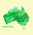 hand drawn watercolor map of australia isolated on vector image vector image