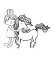 line boy hugging beauty unicorn hairstyle vector image vector image
