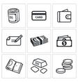 Money icon set vector image vector image