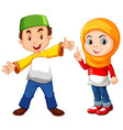 muslim boy and girl in traditional costume vector image vector image